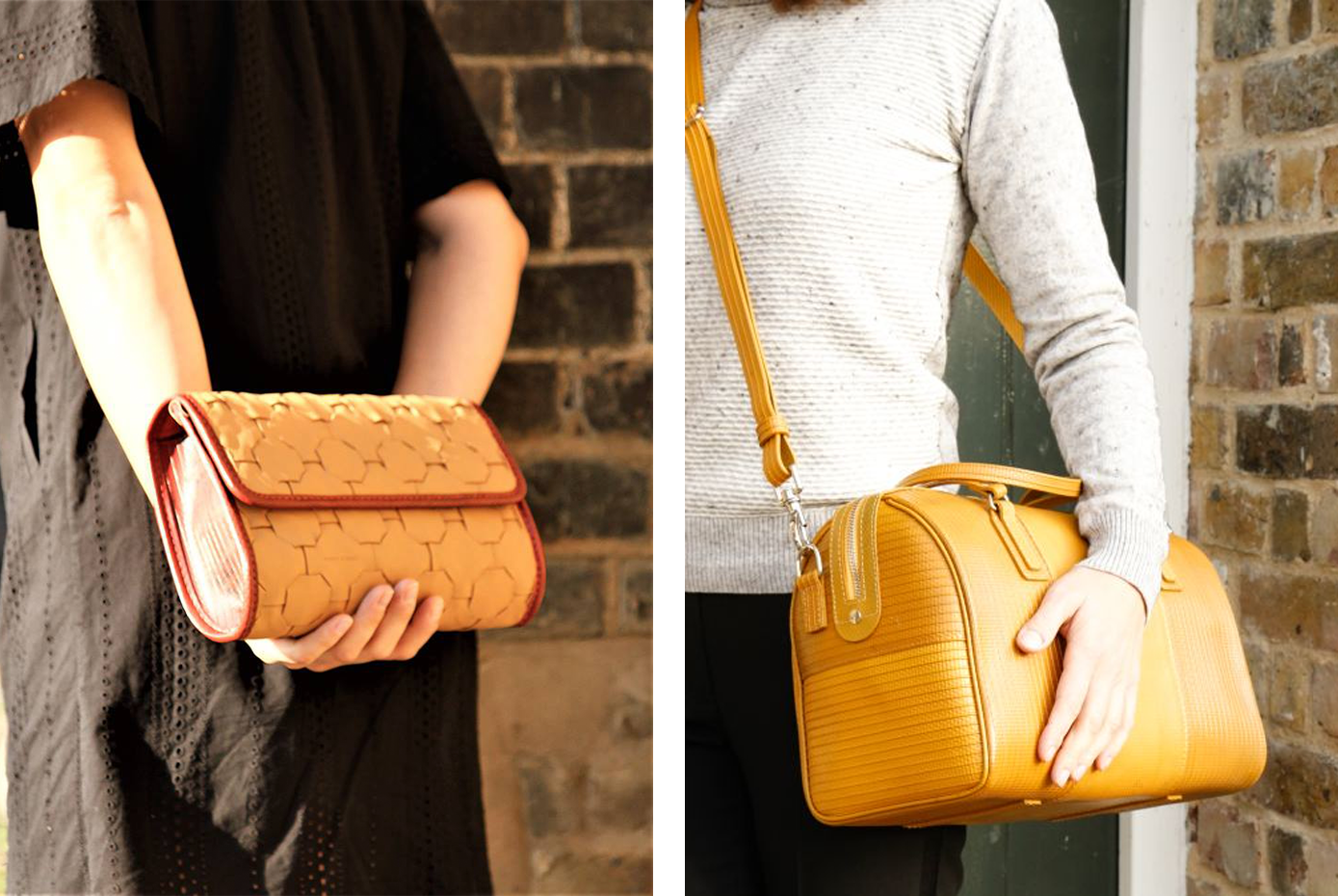 bags made from yellow reclaimed fire hose