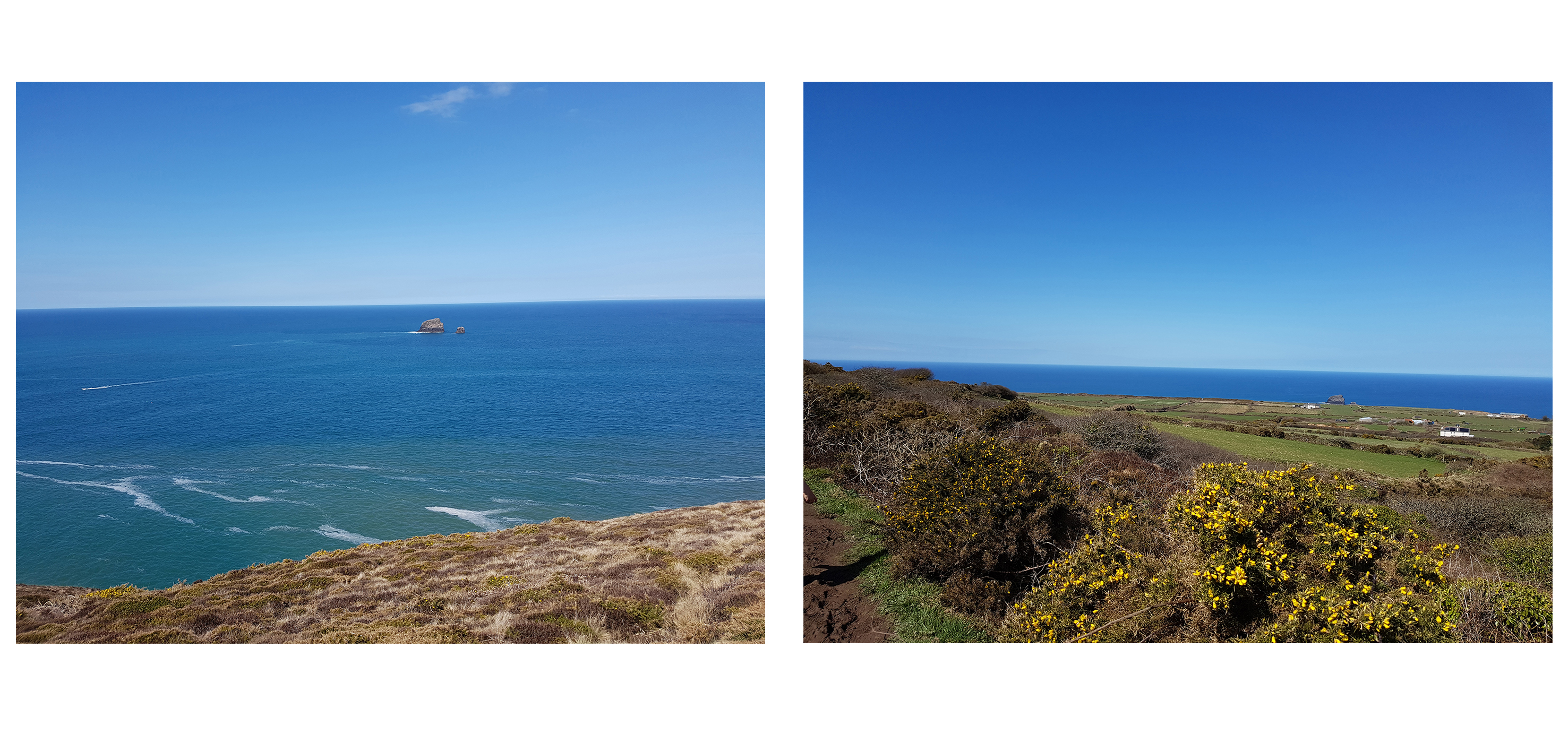 2 images of St Agnes Cornwall blue ocean sea view yellow gorse