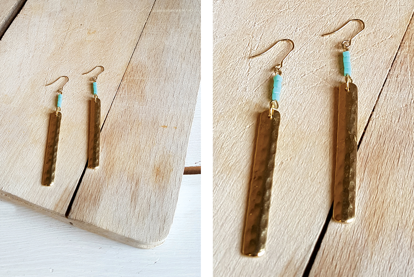 Hammered metal drop earrings turquoise beads