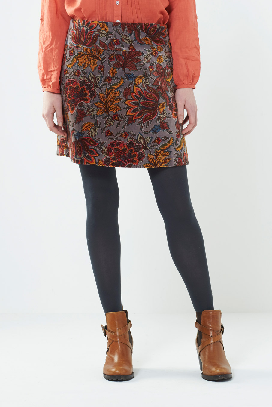 Velvet Mini Skirt Rust