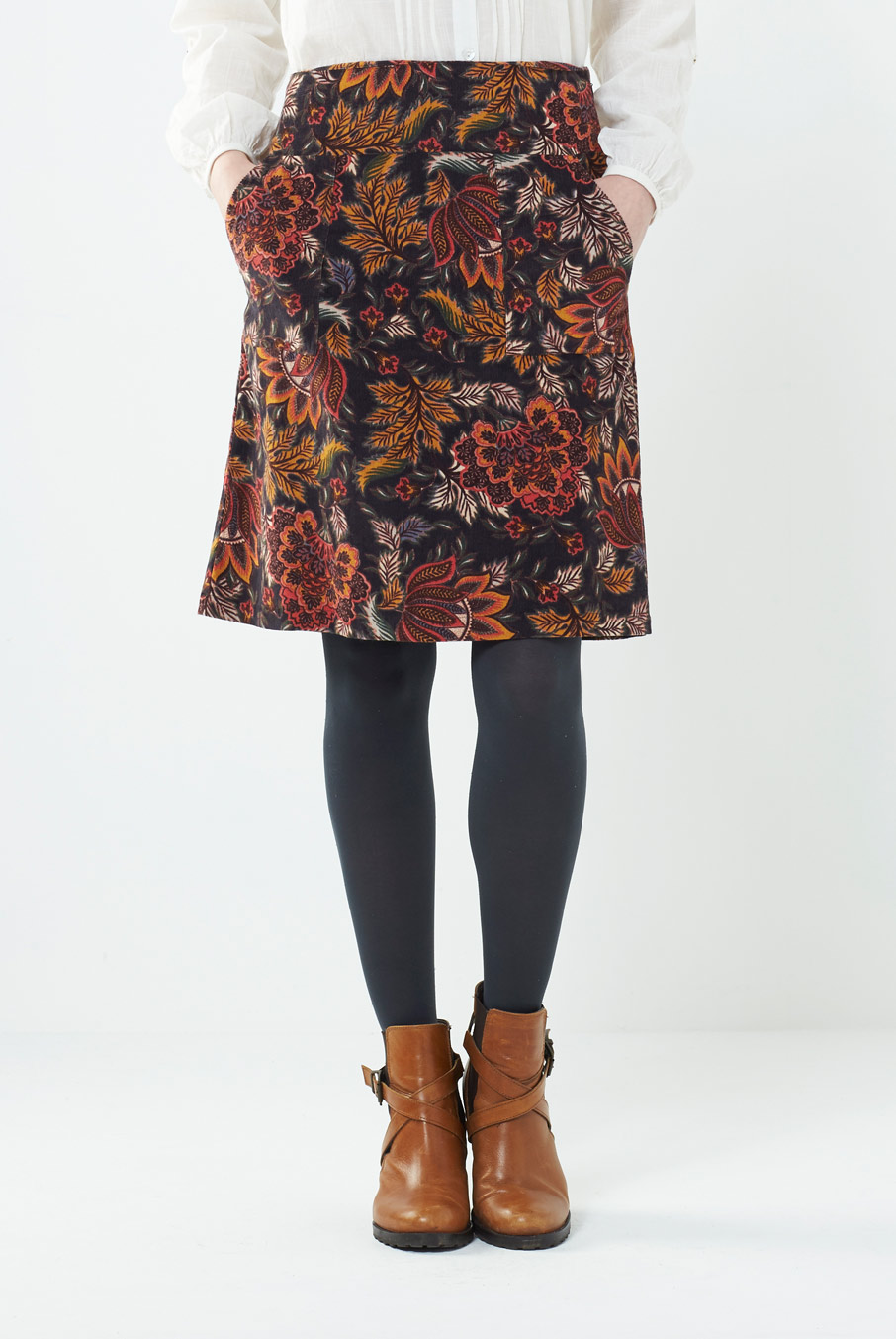 Floral Cord Skirt Rust