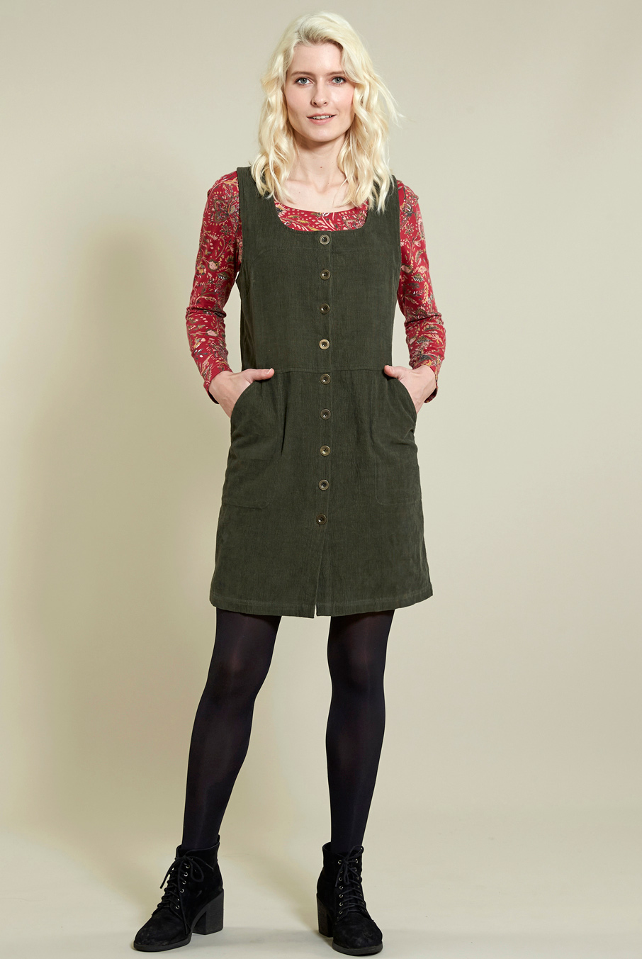 Button Front Cord Pinafore Dress