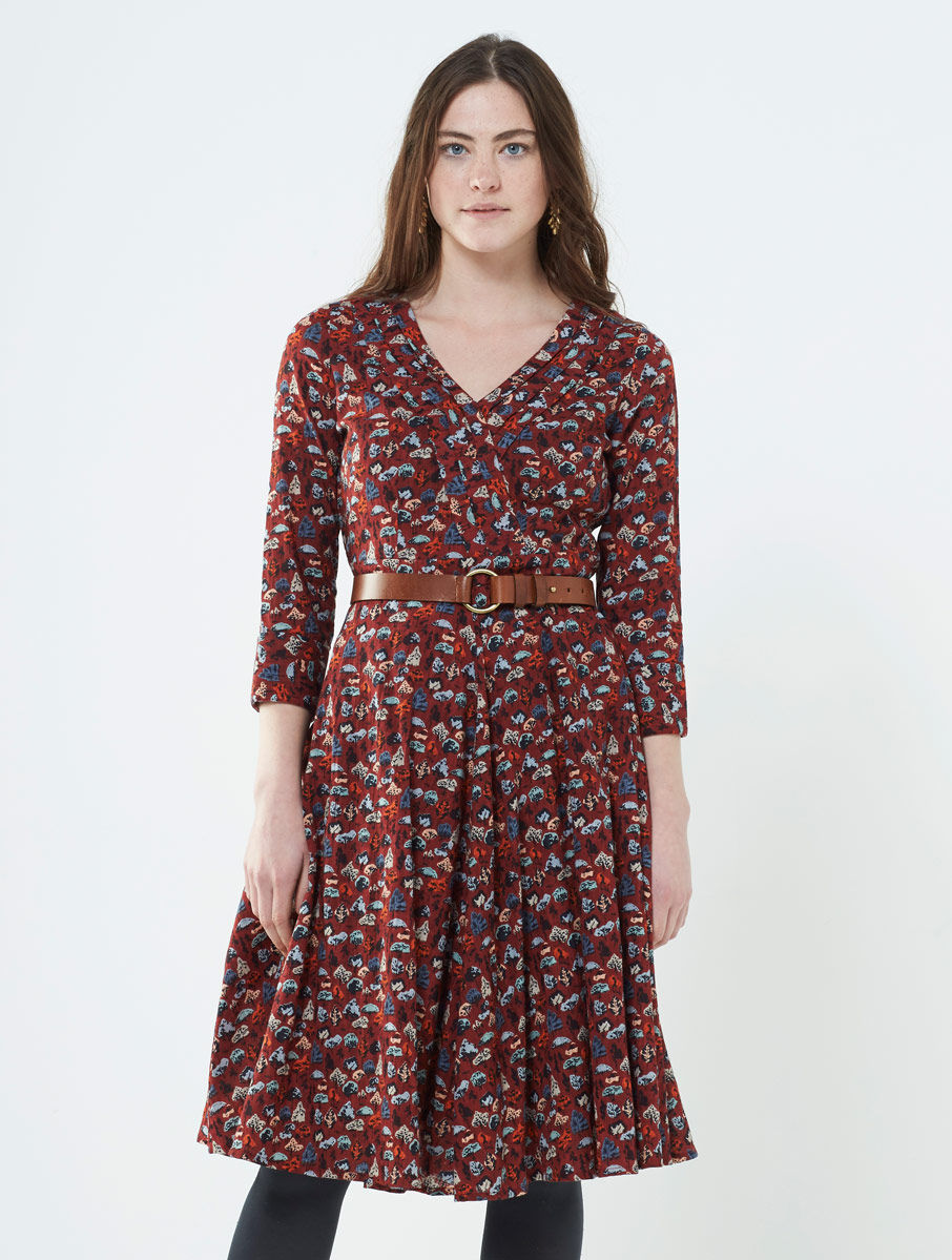 Flared Dress Spice Red