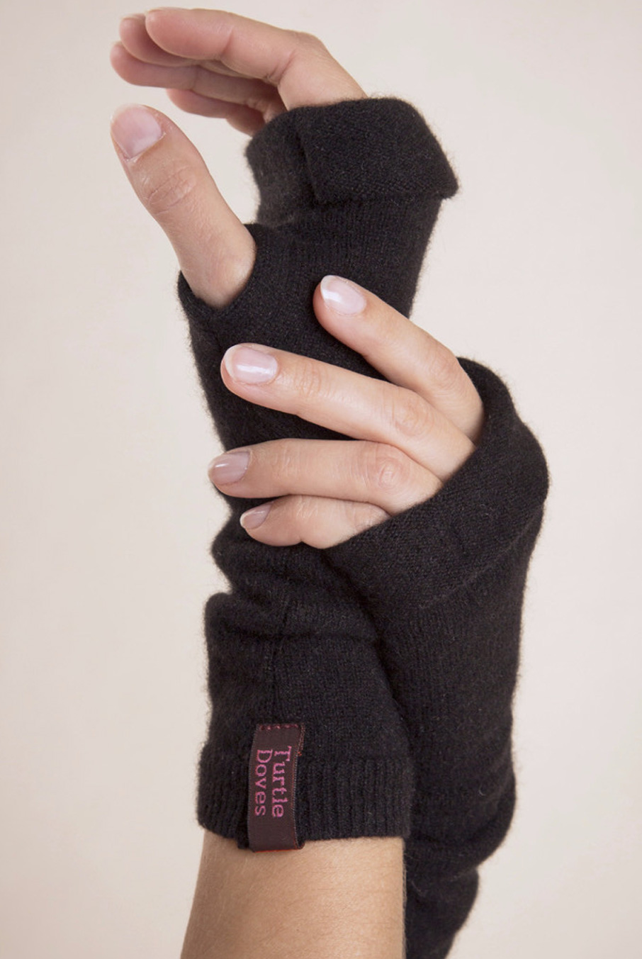 Cashmere Fingerless Gloves Black