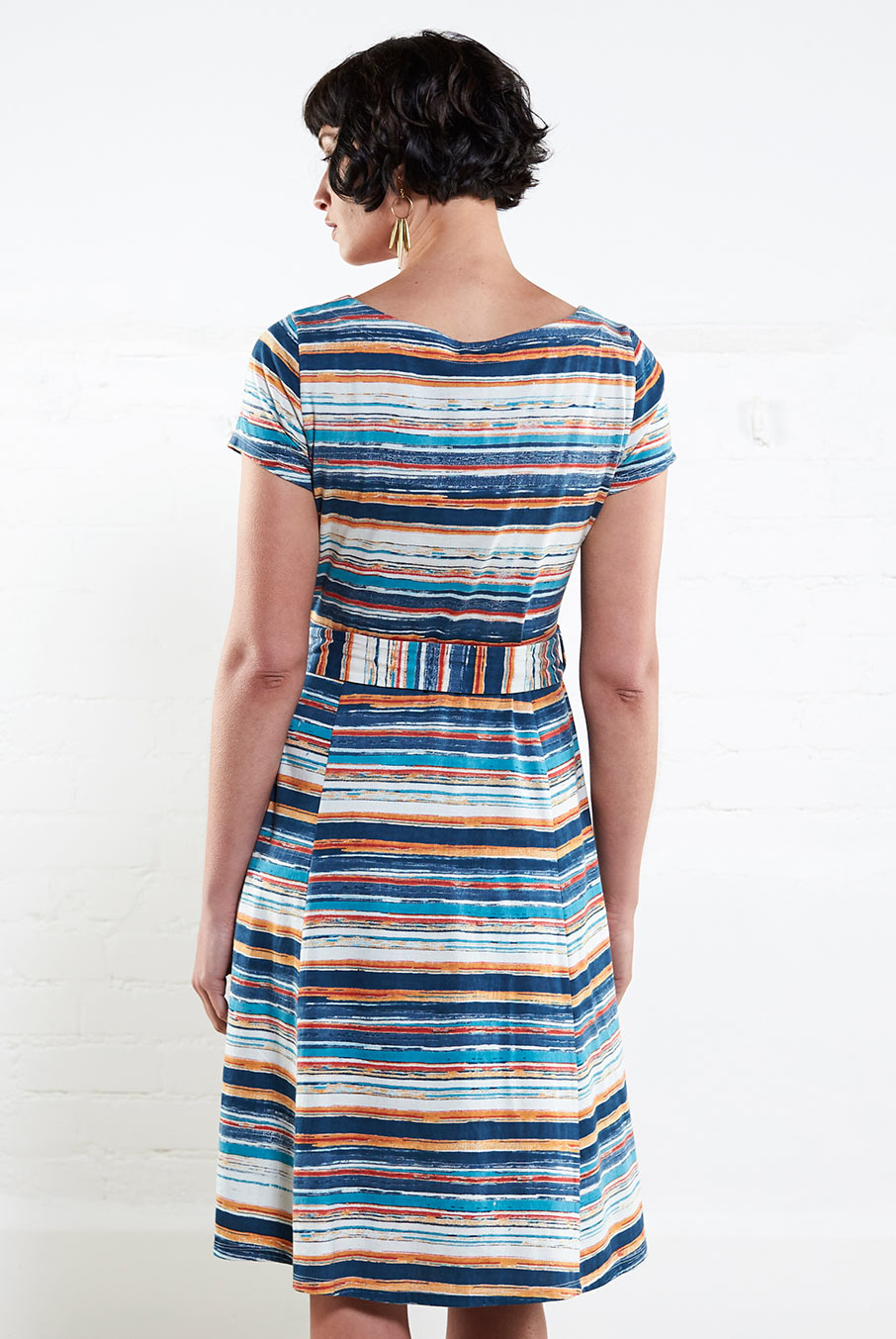 Stripe SS Flare Dress