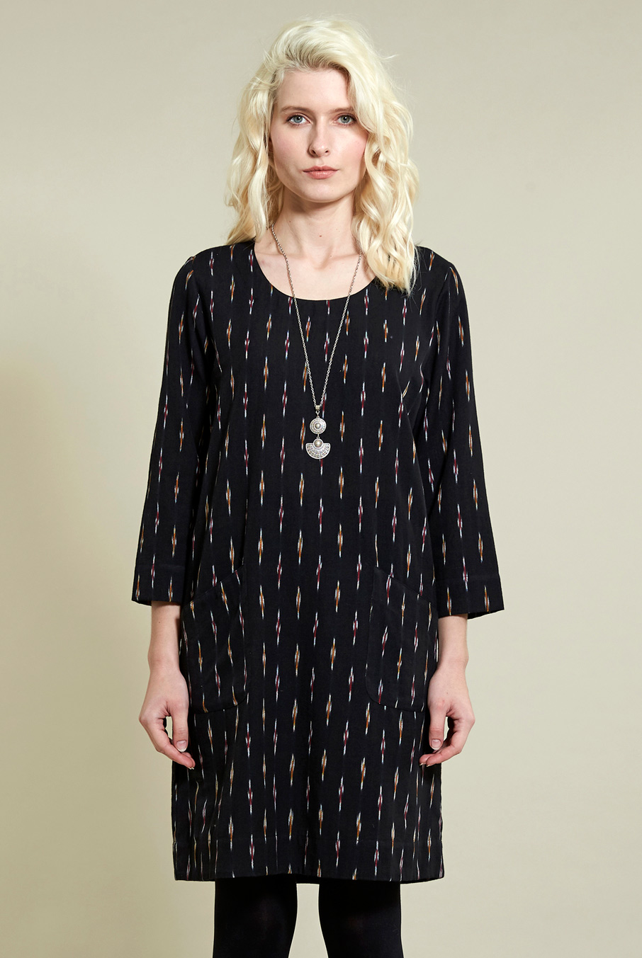 Black Ikat Tunic Dress