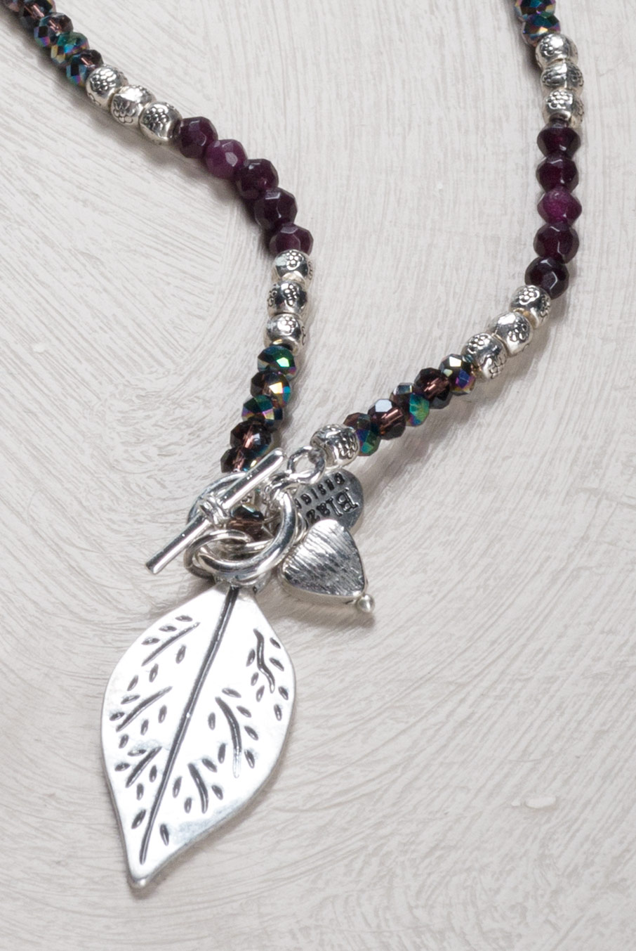 Adjustable Leaf Necklace Damson