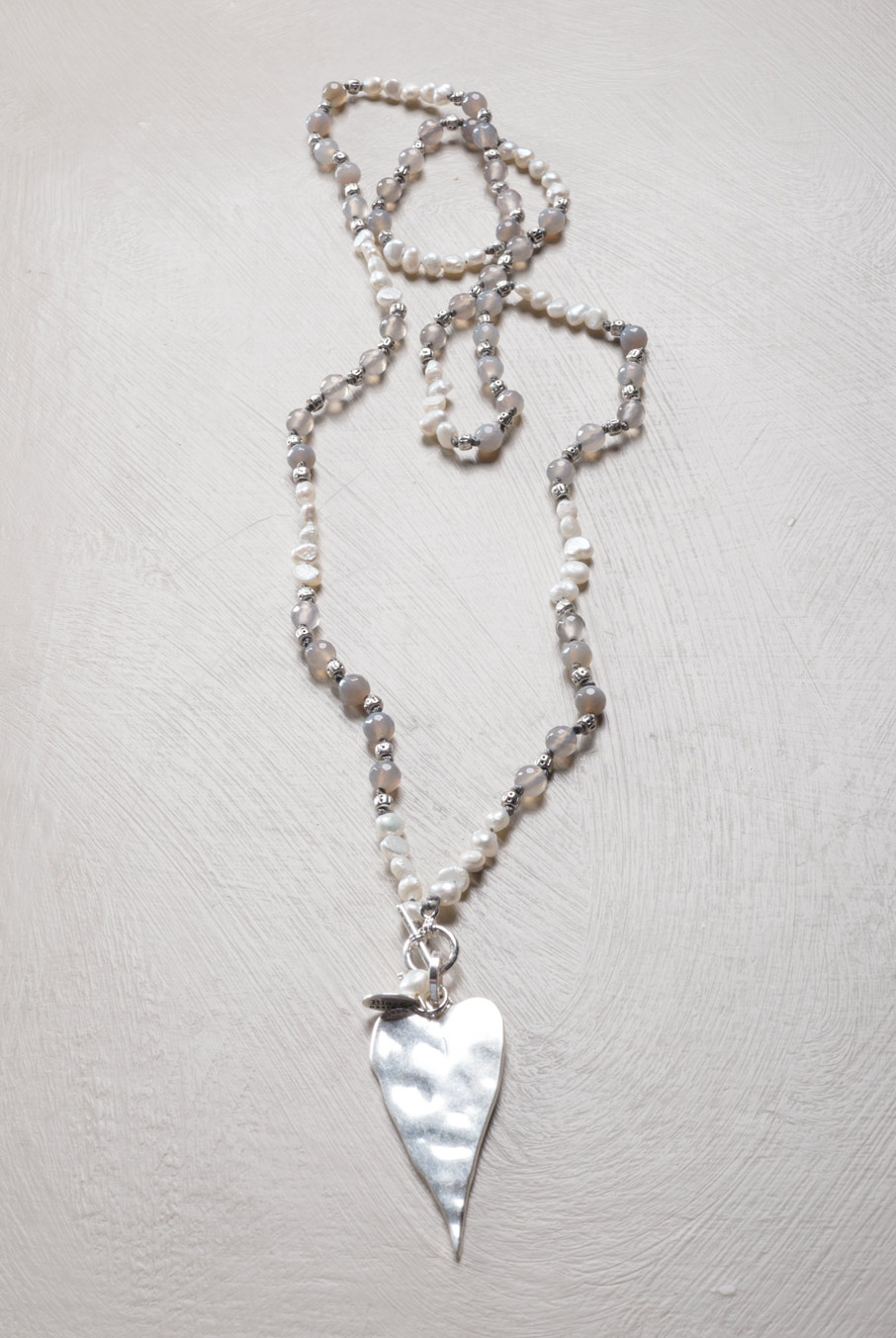 Adjustable Heart Necklace Pearl