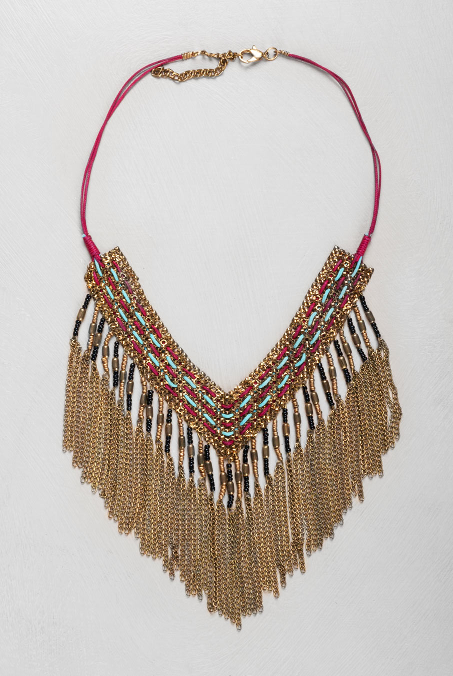 Beaded Fringe Necklace Spice Red