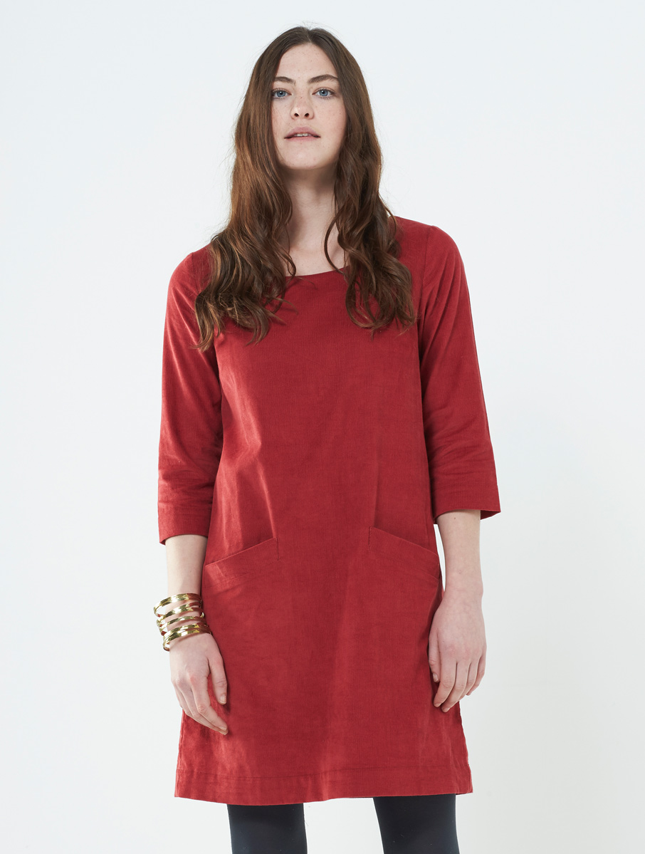 Plain Cord Dress Spice Red