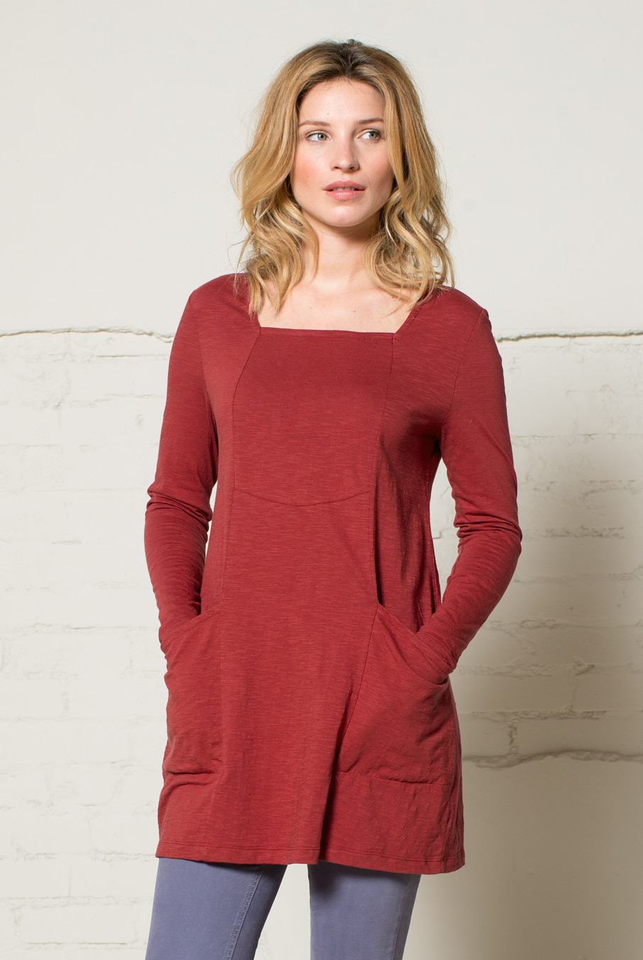 Square Neck Jersey Tunic Spice Red