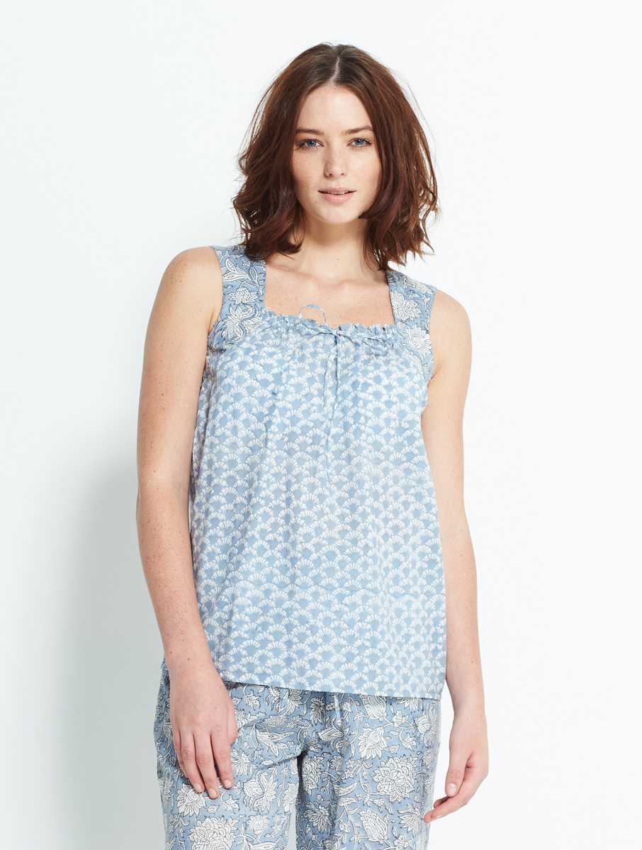 Block Printed Cami Blue