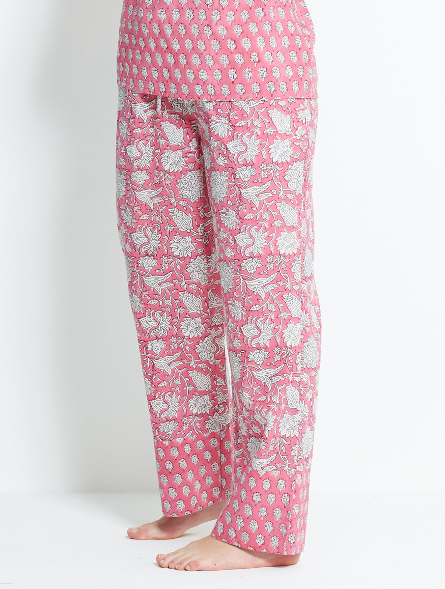 Block Printed Trousers Pink