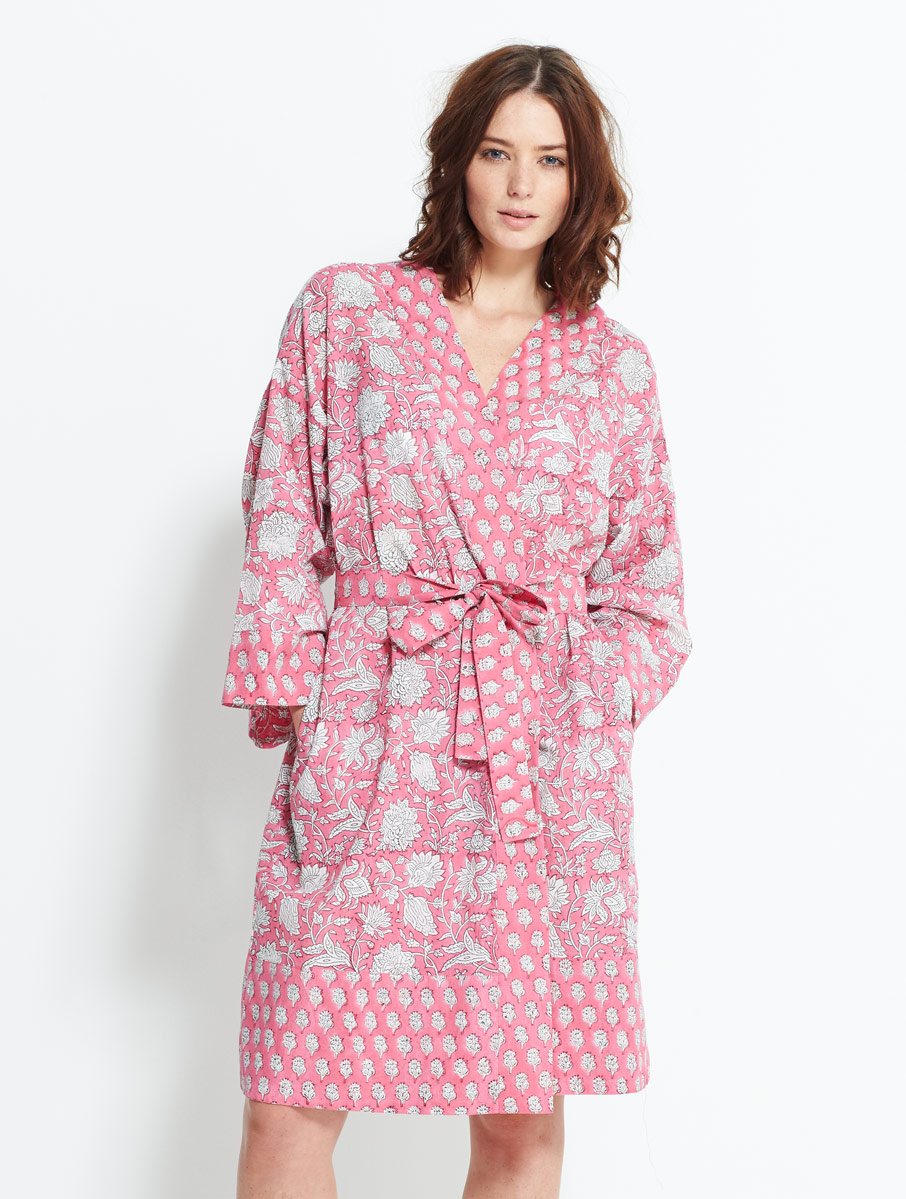 Block Printed  Robe Pink