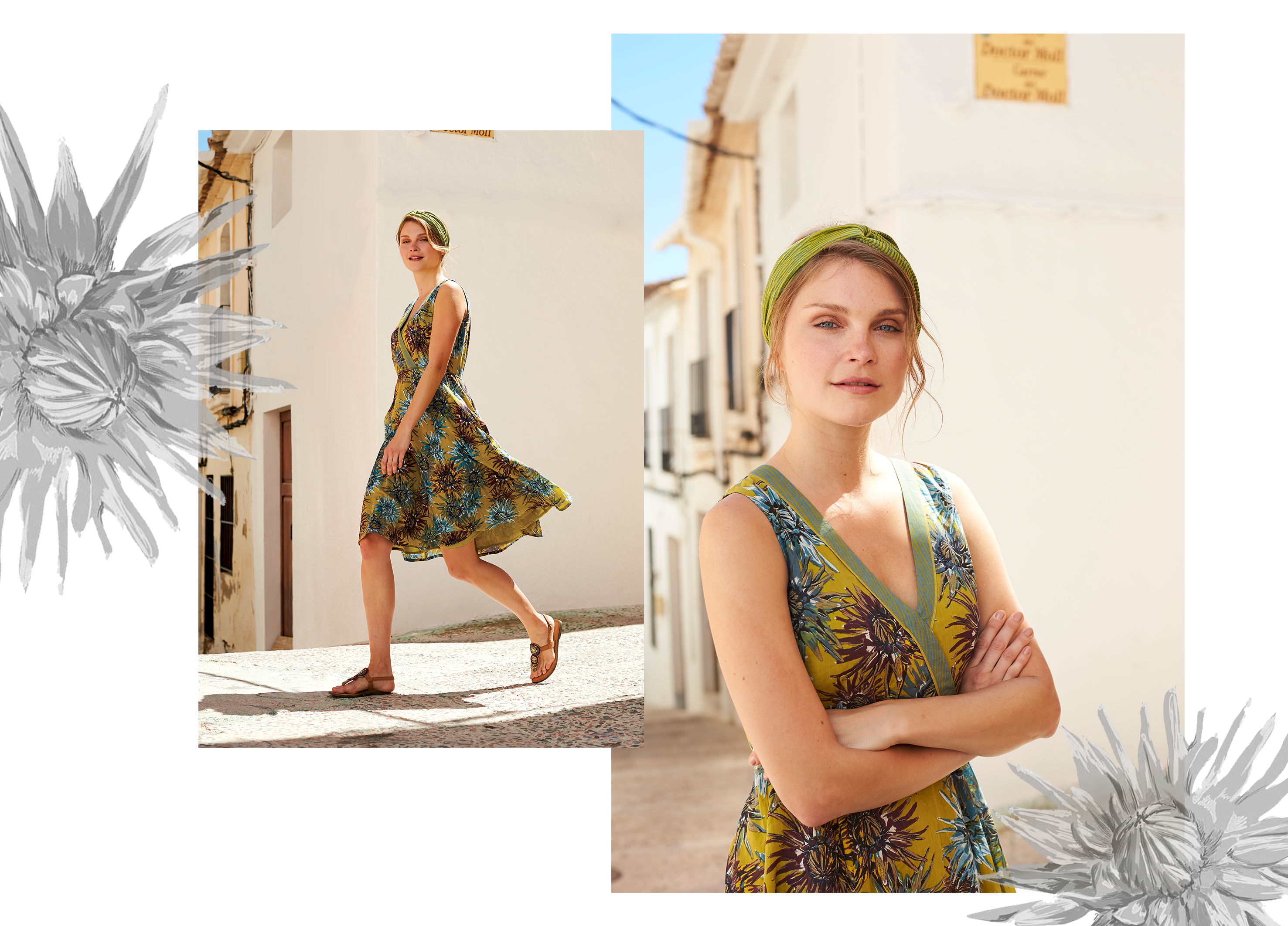 Avocado green Dahlia floral print fit and flare dress