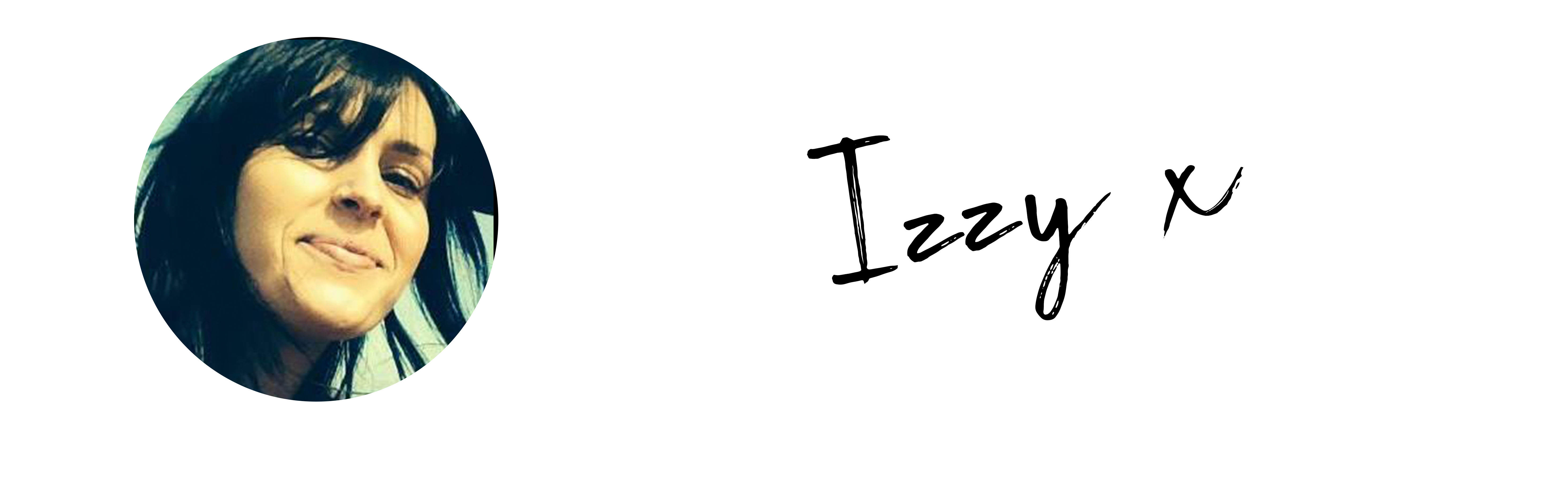 Image of blog writer, with text Izzy x