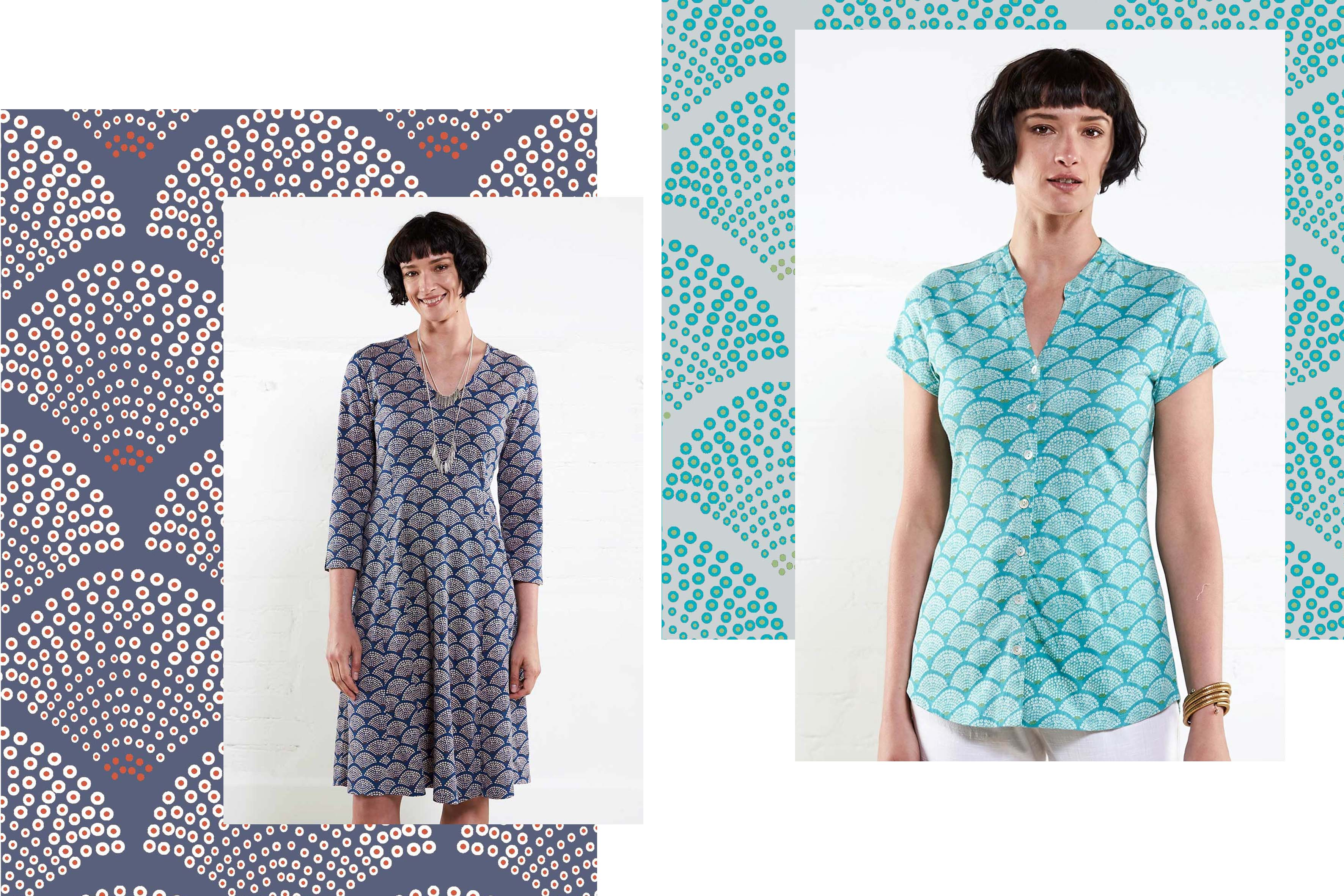 fan print textile design in 2 colourways with image of dress and top