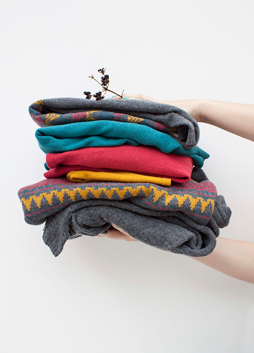 Merino wool and organic cotton knitwear pile