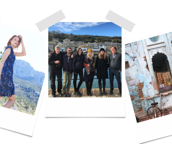 Vintage encaustic tiles orange brown