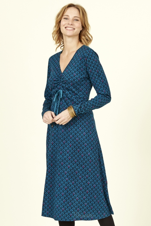 Marine Blue Fair Trade Organic Cotton Ruched Front Dress