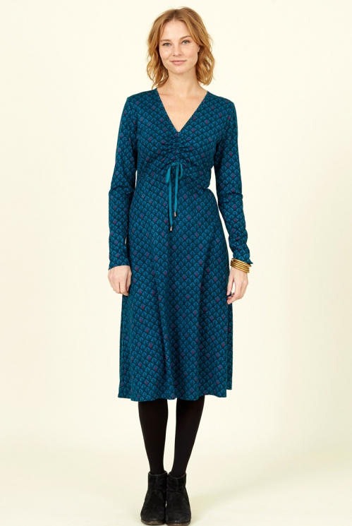 Fair Trade Marine Blue Organic Cotton Ruched Front Dress