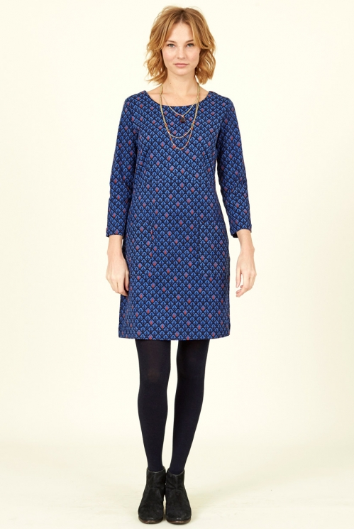 Sapphire Blue Ethically Made Cotton Stretch Tunic Dress
