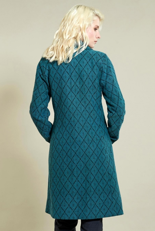 Fit And Flare Coat in Pacific Blue - back view