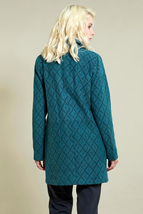 Aztec Short Coat in Pacific Blue - back view