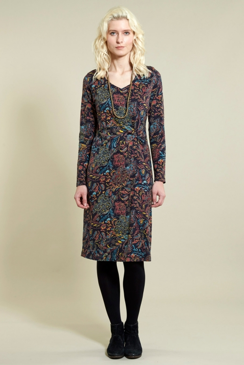 Twist Detail Amara Dress in Organic Cotton Jersey - image shows Sienna