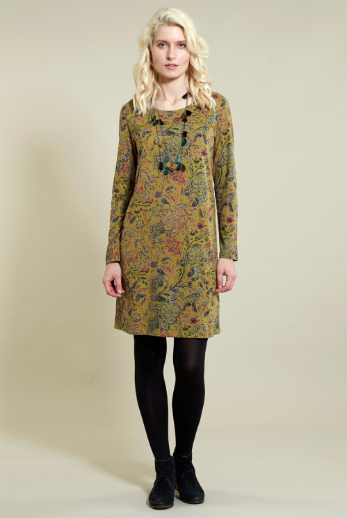 Amara Tunic Dress in Organic Cotton Jersey - image shows Ochre
