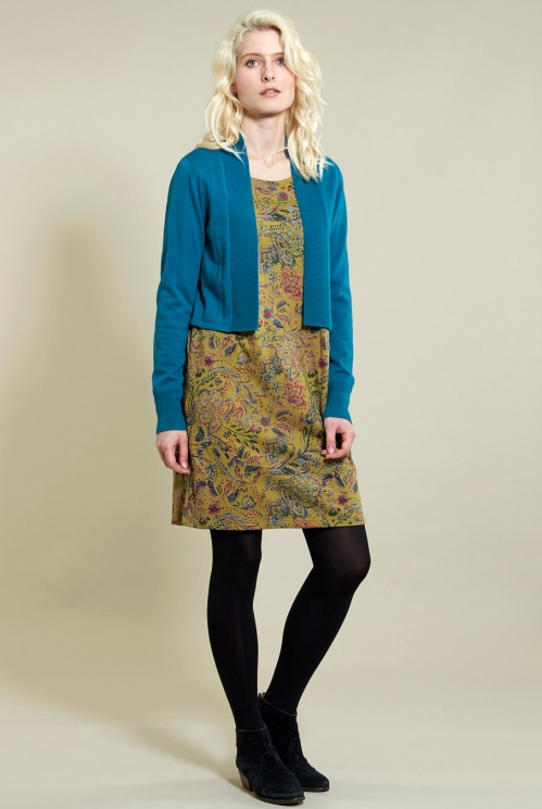 Amara Tunic Dress in Organic Cotton Jersey xtra view of Ochre