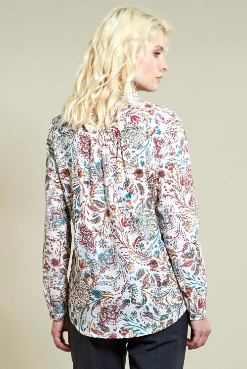 Floral Shirt in Ivory - back view