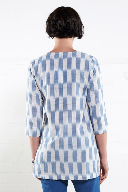 Chambray Ikat Handloom Top (back)