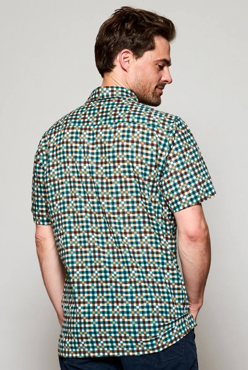 Storm Blue Sustainable Block Check Short Sleeve Cotton Shirt