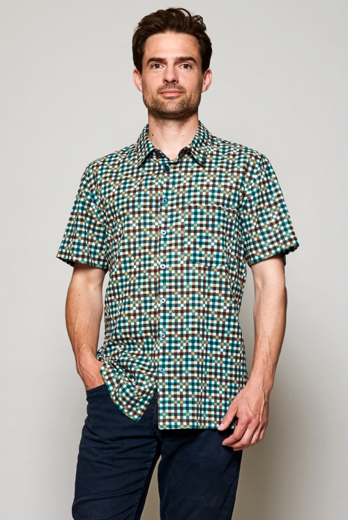 Sustainable Storm Blue Block Check Short Sleeve Cotton Shirt