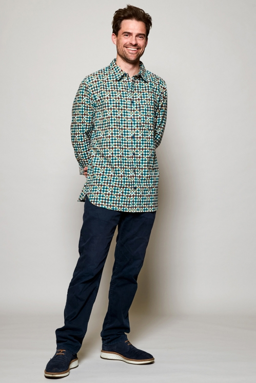 Storm Blue Sustainable Long Sleeve Block Check Cotton Shirt