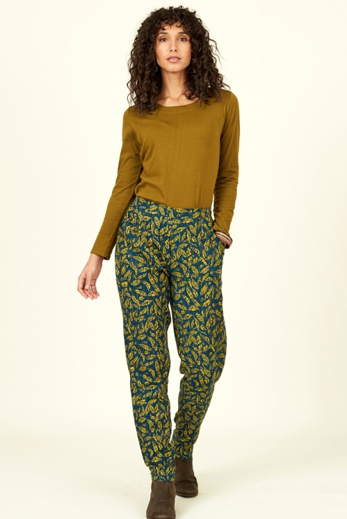 Biscay Blue Fair Trade Lyocell Printed Trousers