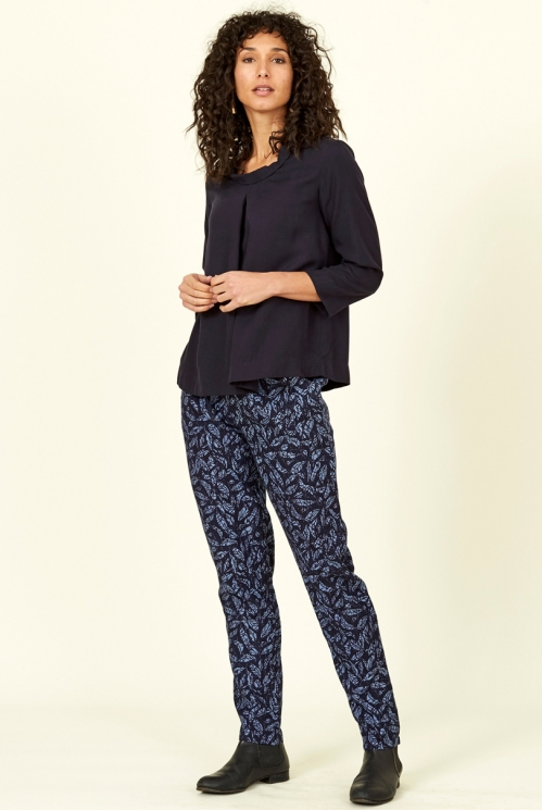 Sustainable Navy Blue Lyocell Printed Trousers