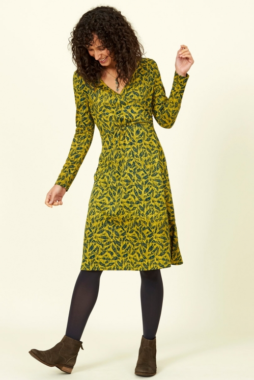 Ethical clothing Citrine Green Long Sleeve Organic Cotton Crossover Wrap Dress