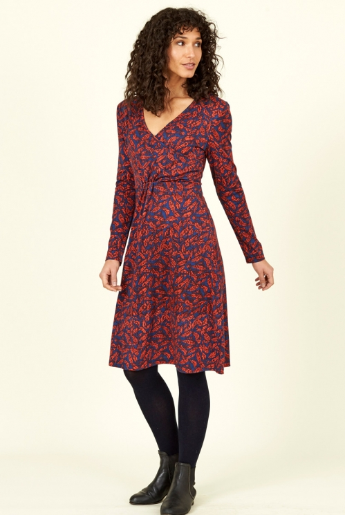 Saffron Red Fair Trade Long Sleeve Organic Cotton Crossover Wrap Dress