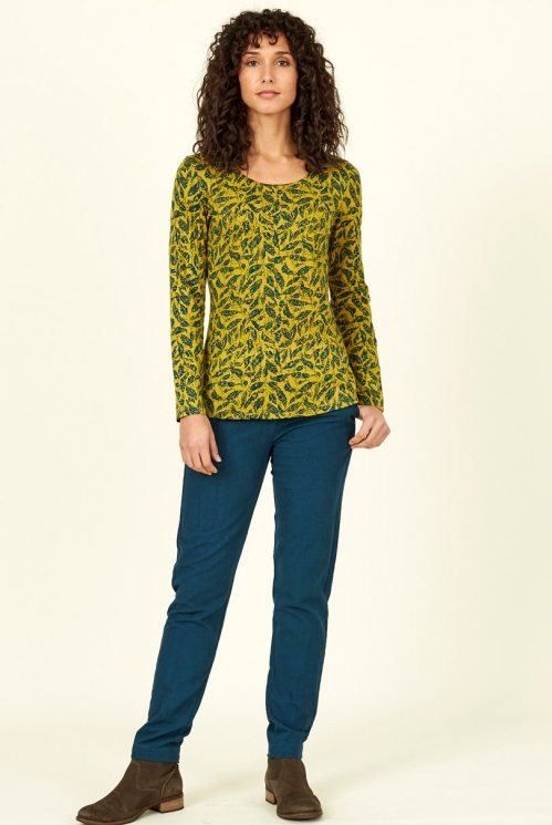 Citrine Green Fair Trade Organic Cotton Long Sleeve Printed Top