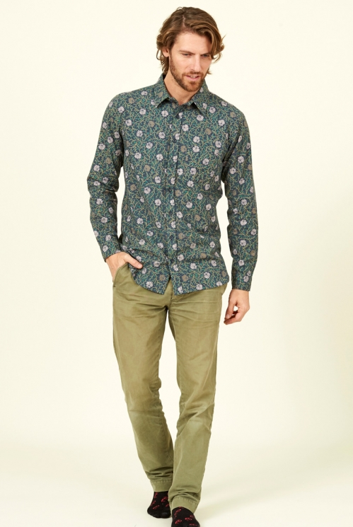 Biscay Blue Fair Trade Botanical Long Sleeve Cotton Shirt
