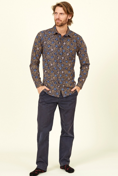 Sustainable Navy Blue Botanical Long Sleeve Cotton Shirt