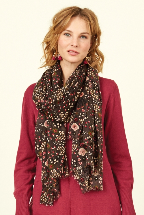 Mocha Brown Fair Trade Bloomsbury Scarf