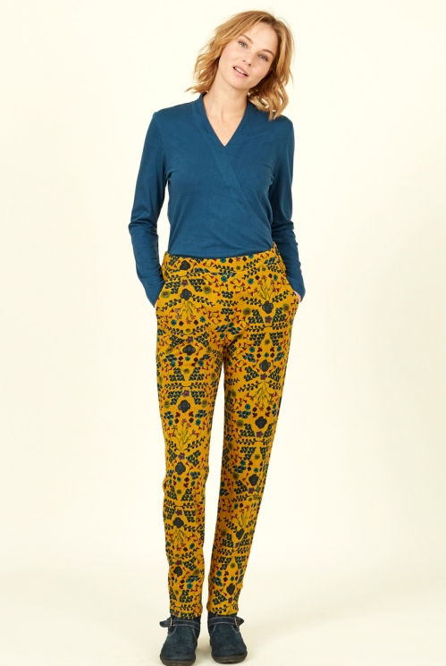 Fair Trade Dijon Yellow Bloomsbury Print Cotton Jersey Trousers