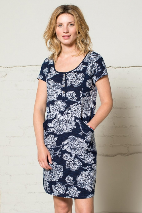 Navy Button Front Tunic Dress