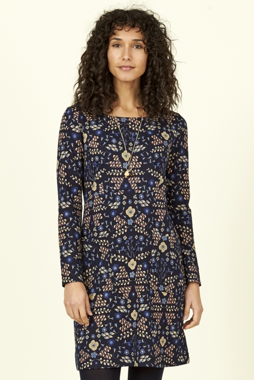 Navy Blue Ethically Made Bloomsbury Cotton Jersey Tunic Dress