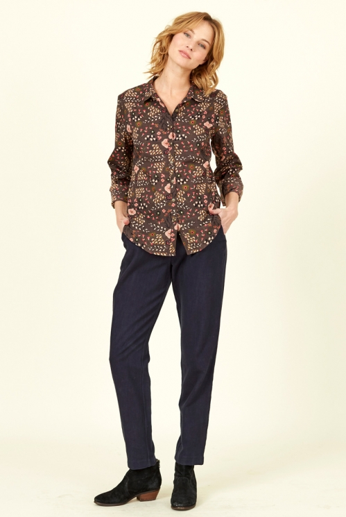Mocha Brown Fair Trade Printed Cotton Shirt
