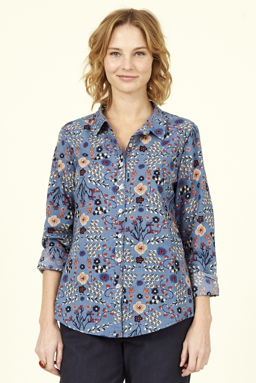 Sea Blue Sustainable Printed Cotton Shirt