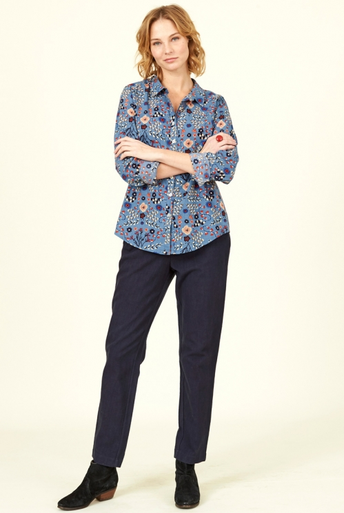 Sustainable Sea Blue Printed Cotton Shirt